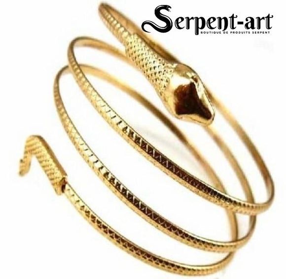 Bracelet serpent spirale or