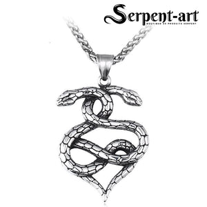 Collier serpent double cœur