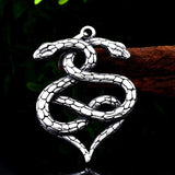 Collier reptile double cœur
