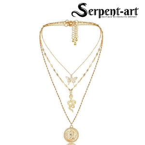 Collier serpent 3 en 1 or