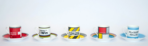 Cycling themed espresso cups