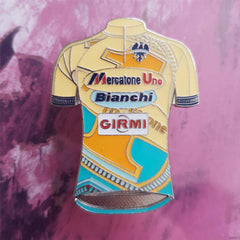 Retro cycling jersey themed pin badges