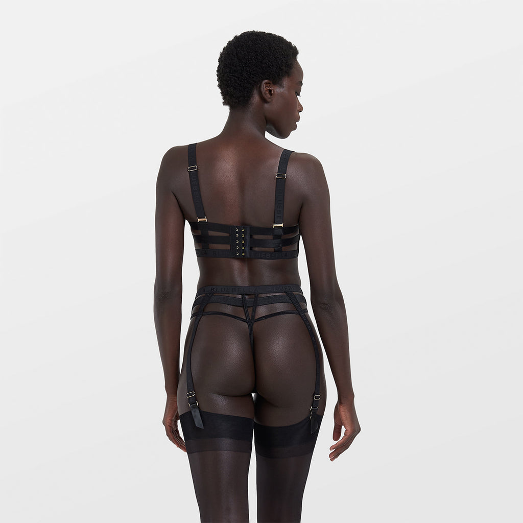 Highgate High-waist Suspender Thong Black