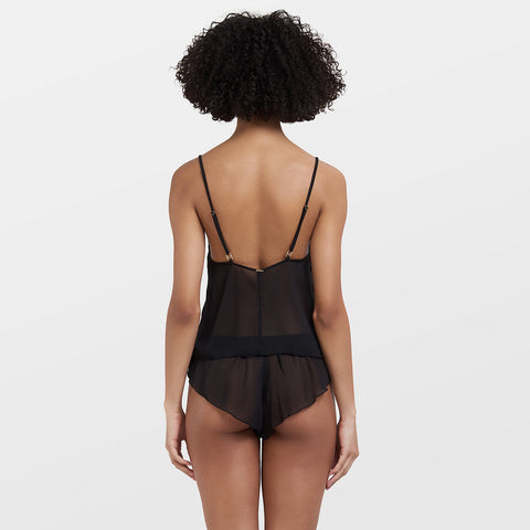 Daisy Crop Cami And Short Set Black