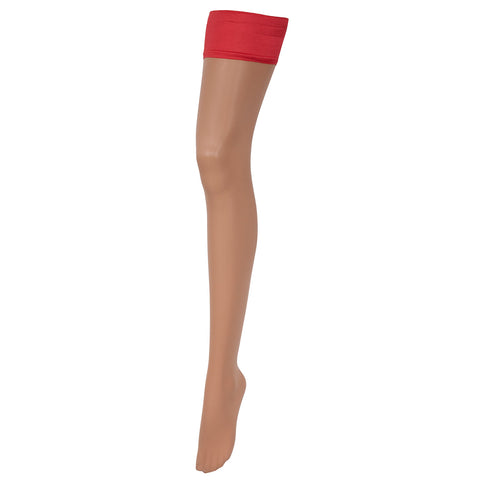 Hold Ups Plain Top Champagne/Red