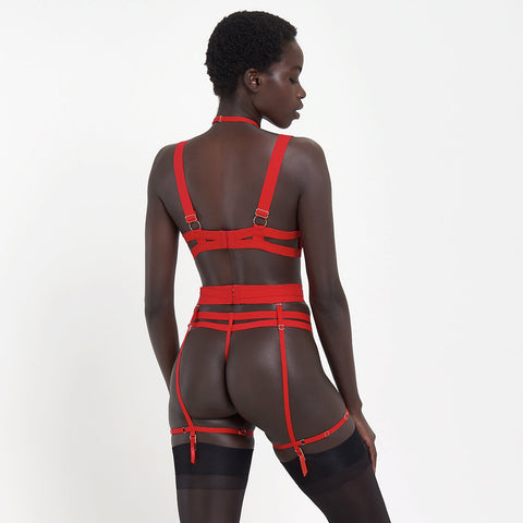 Orion Suspender Harness with detachable harness Red