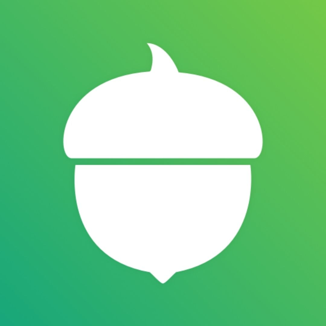 The Acorns app icon. Acorns rounds up purchases to help save you more money.