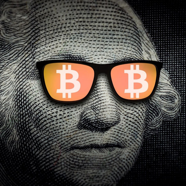 George Washington with Bitcoin Glasses