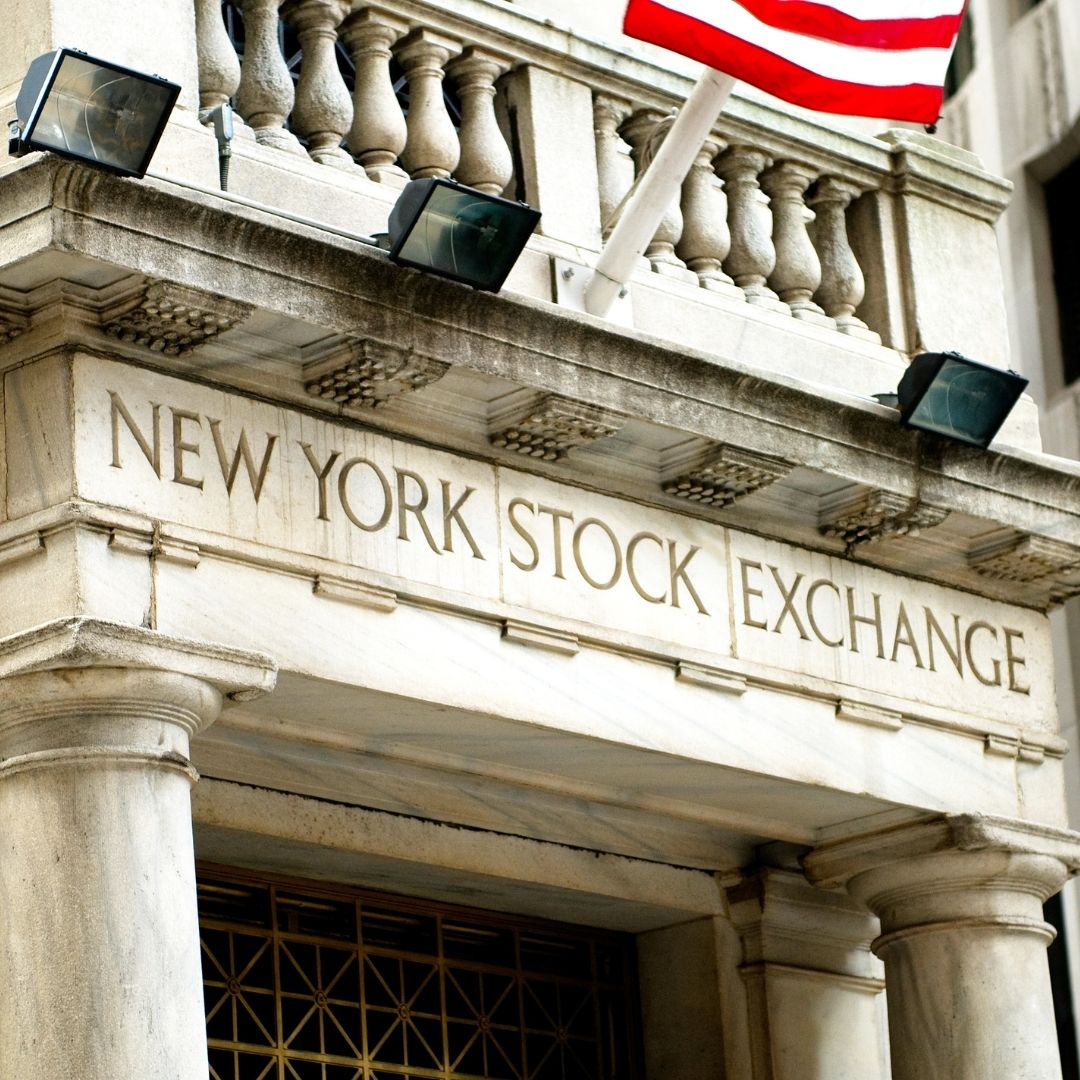 The front of the New York Stock Exchange (NYSE). The NYSE is the largest stock exchange in the world.