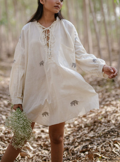 White oversized tunic dress