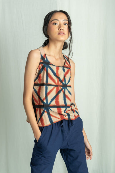 SHIBORI SLEEVELESS TOP