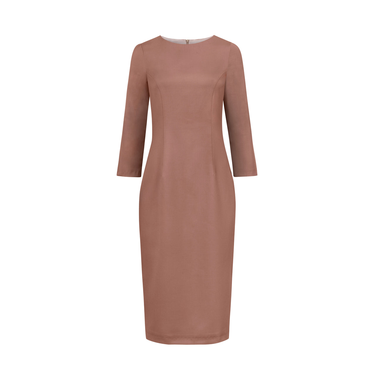 BEIGE PENCIL DRESS WITH SLEEVES