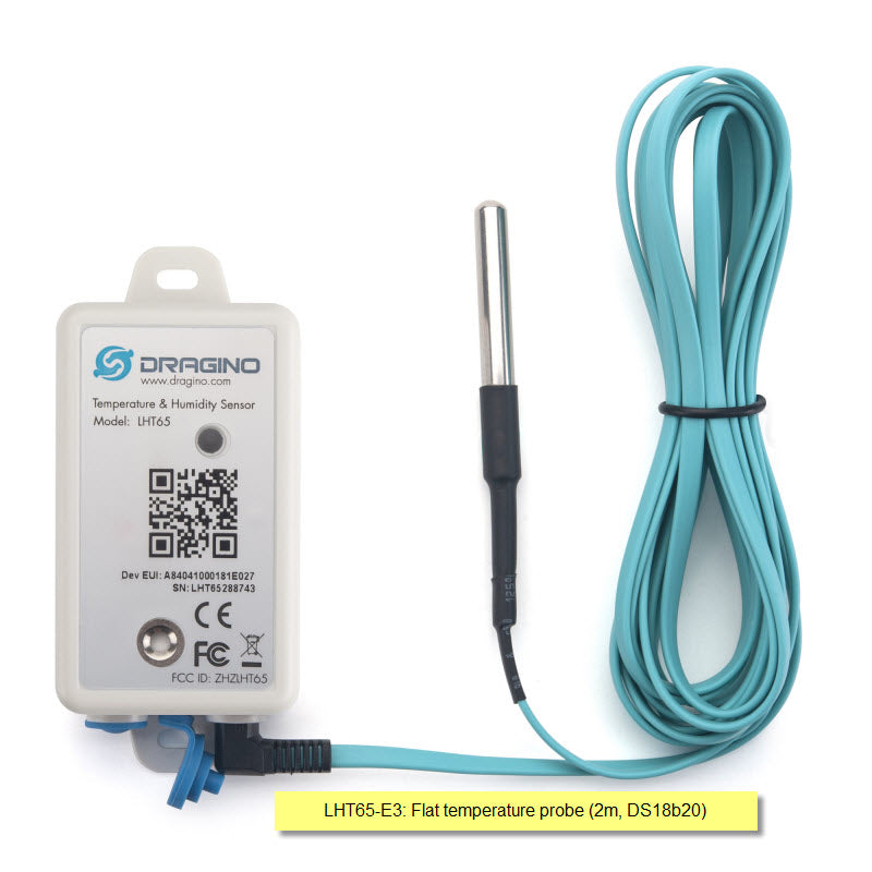 LHT65-AU-E3 LORAWAN TEMPERATURE & HUMIDITY SENSOR with Flat Temperature Cable (DS18B20)