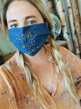 'Love Will Win' Embroidered Cotton Face Mask