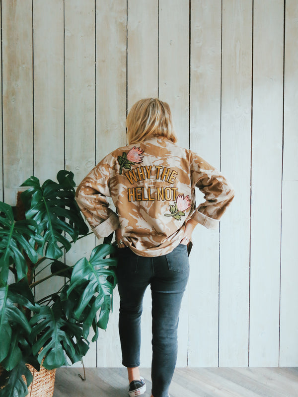 'Why The Hell Not' Embroidered Sand Camo Jacket