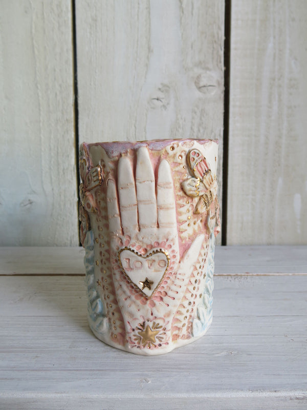Love In My Hand Prayer Style Candle