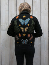 Butterfly Shearling Embroidered Denim Jacket - S