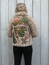 'Born To Be Wild' Embroidered Faux Fur Jacket - XS/S
