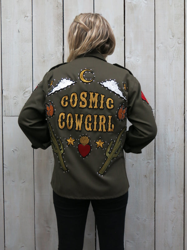'Cosmic Cowgirl' Embroidered Army Jacket