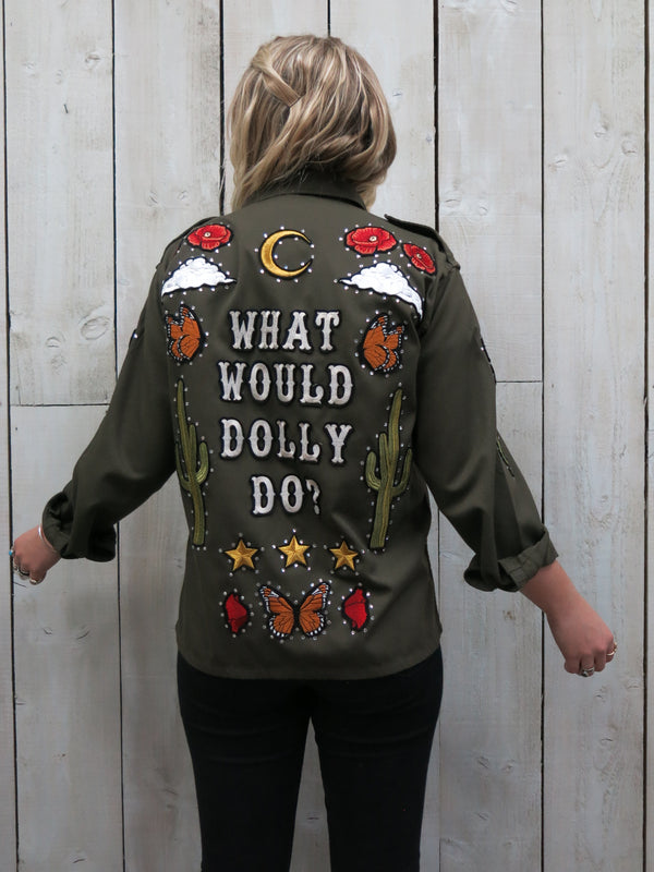 'What Would Dolly Do?' Embroidered Army Jacket