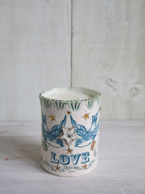 'Love' Bluebird Candle - 2 wick
