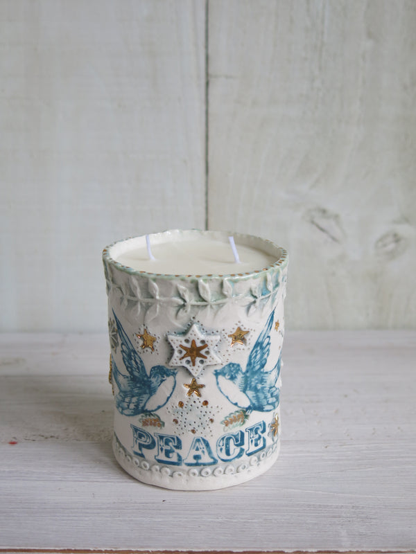 'Peace' Bluebird Candle - 2 wick