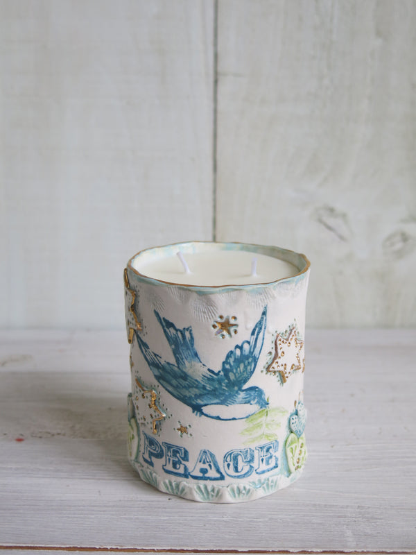 'Love' Single Bluebird Candle - 2 wick