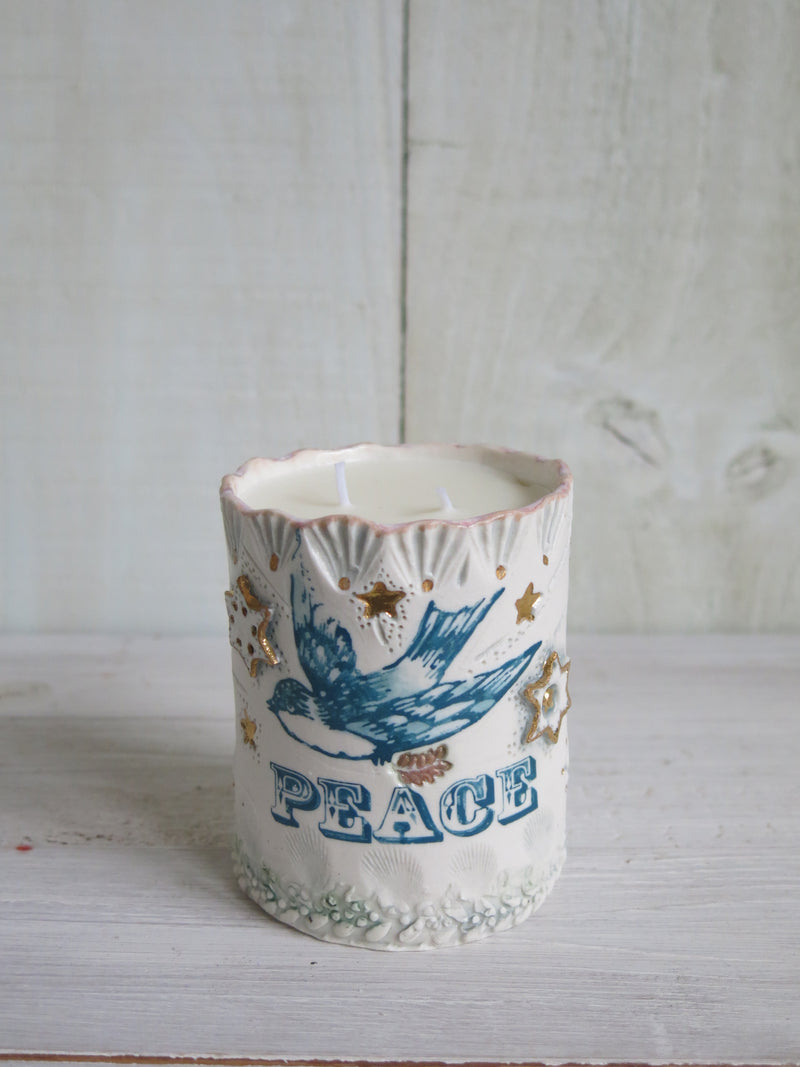 'Peace' Single Bluebird Candle - 2 wick