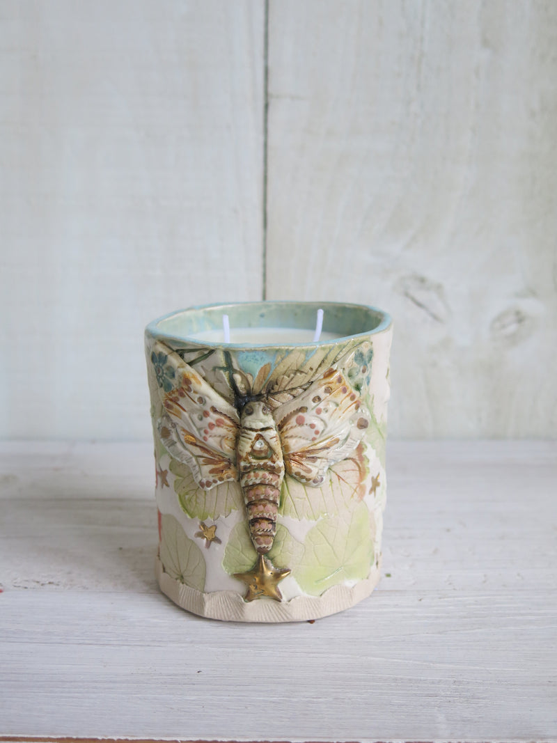 Blue Botanical Moth Candle - 2 wick