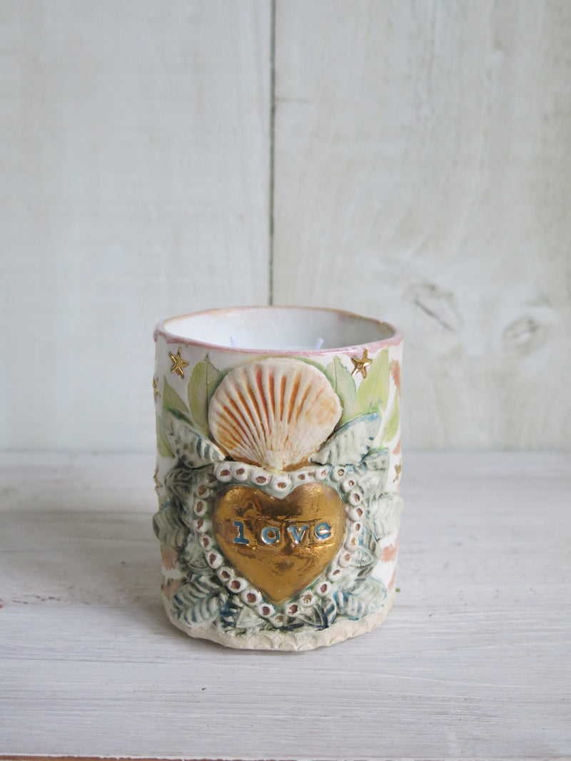 Milagros Heart Botanical Moth Candle - 2 wick