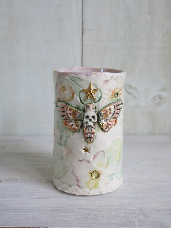 Tall Starry Botanical Moth Candle - 2 wick