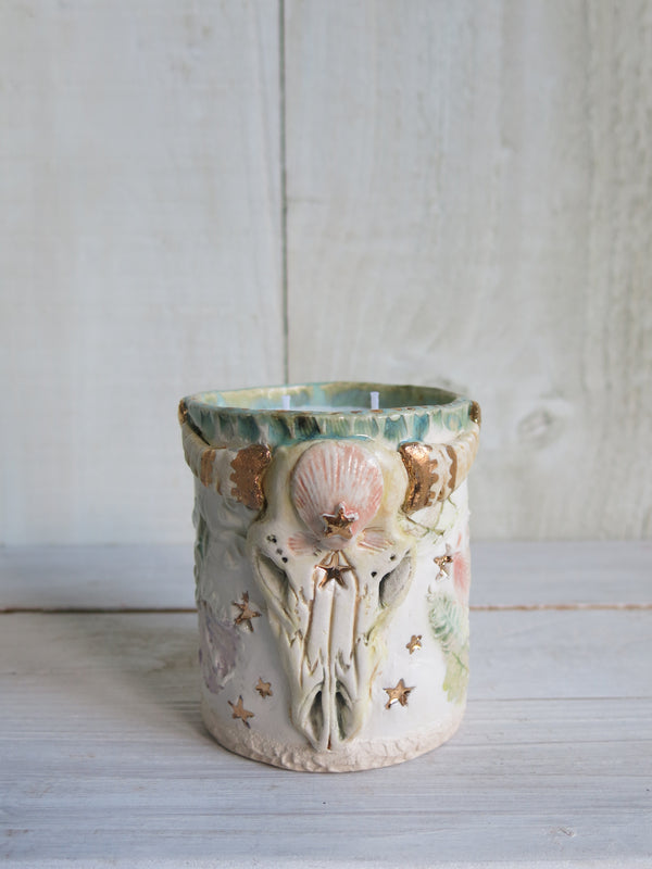Shell Skull Candle - 2 wick