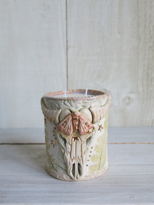 Moth Skull Candle - 2 wick