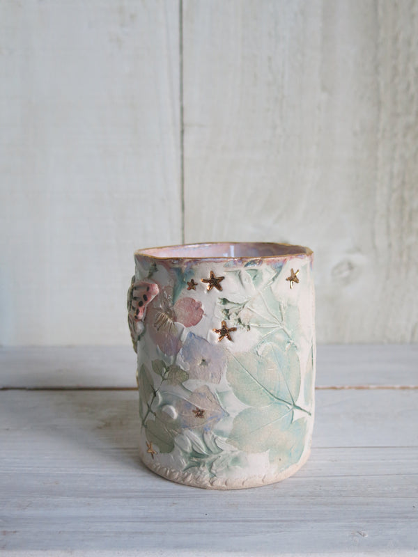 Boho Pink Moth Candle - 2 wick