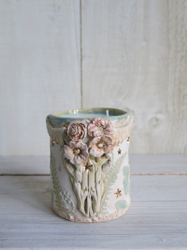 Wildflower Skull Candle - 2 wick
