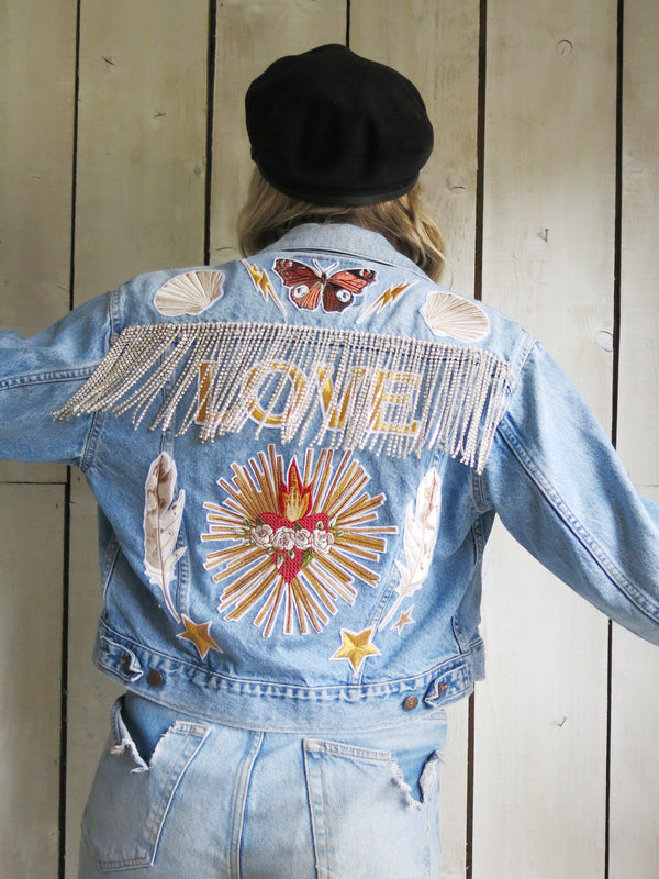 'Love' Diamanté Fringe Embroidered Denim Jacket - S