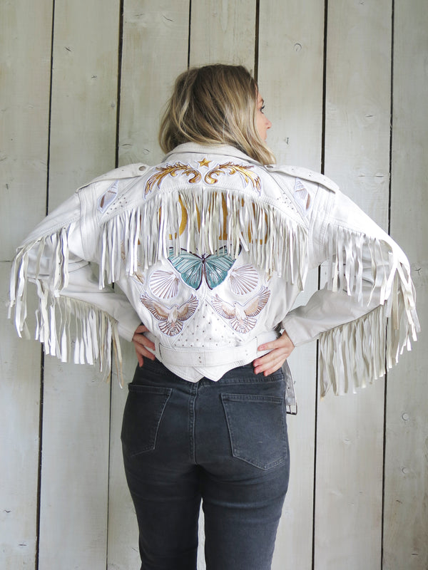 'Loved' White Fringe Embroidered Leather Jacket - M
