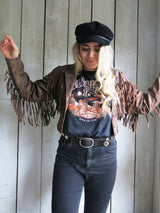 'Dreamer' Brown Fringe Embroidered Leather Jacket - S/M