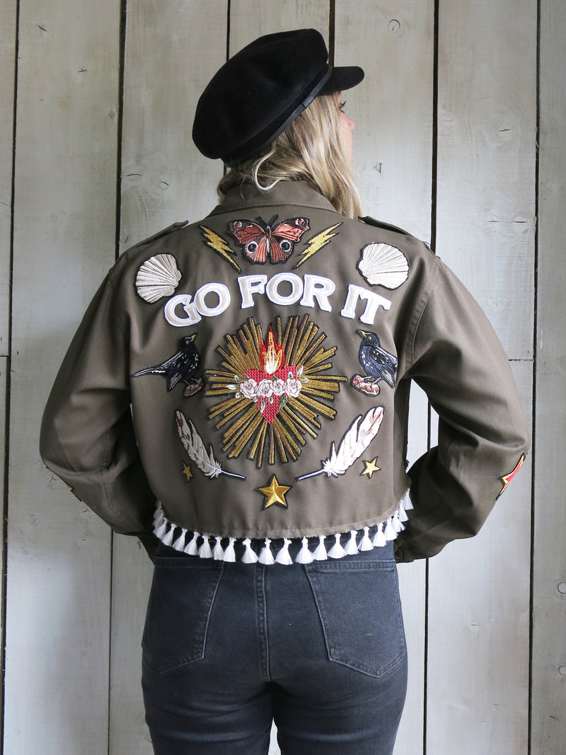 'Go For It' Cropped Embroidered Khaki Jacket