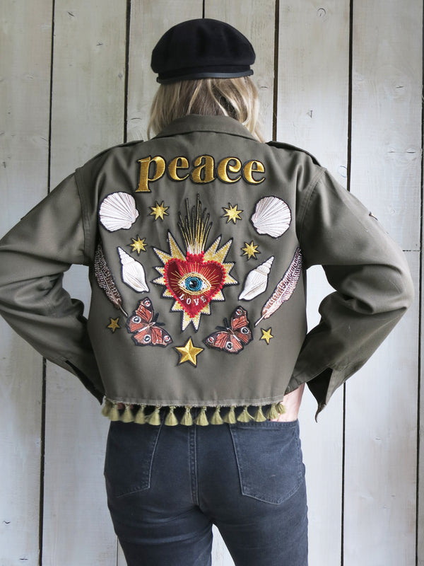 'Peace' Cropped Embroidered Khaki Jacket