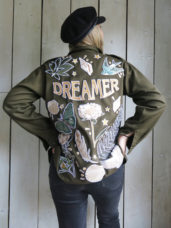 'Dreamer' Embroidered Khaki Jacket
