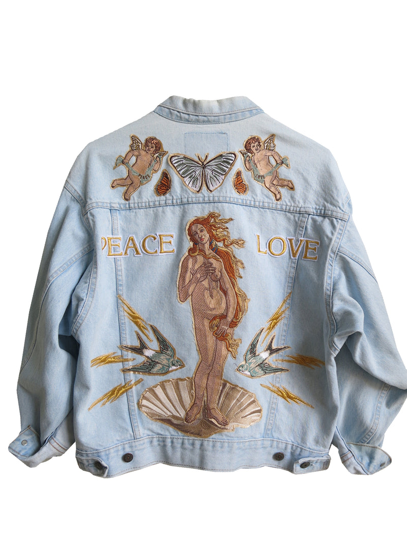 'Peace' and 'Love' Embroidered Denim Jacket - L