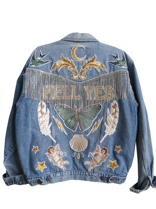 'Hell Yes' diamanté fringe Embroidered Denim Jacket - L