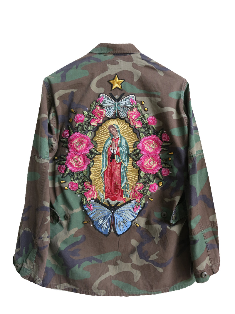 'Lady Of Guadalupe' Embroidered Camo Jacket M