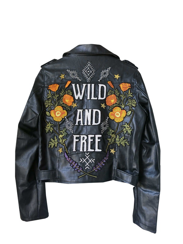 'Wild and Free' Embroidered Vegan Leather Jacket