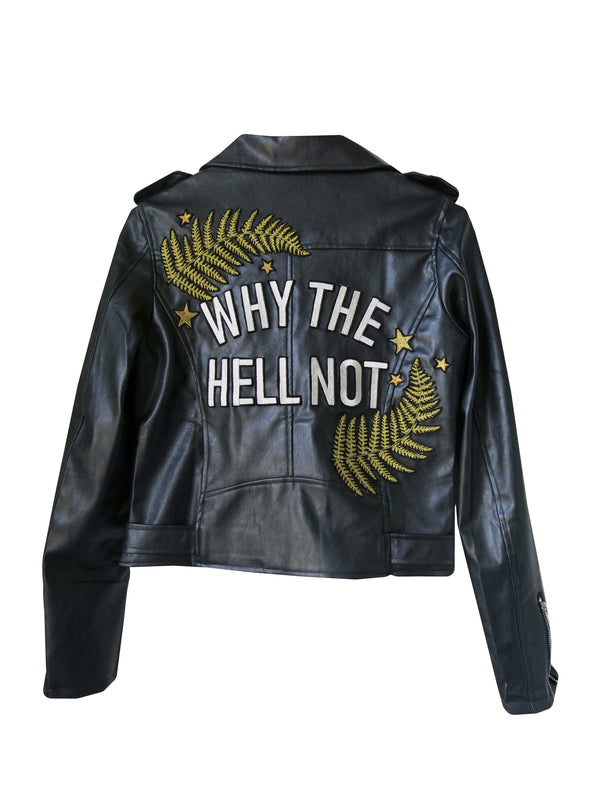 'Why The Hell Not' Embroidered Vegan Leather Jacket