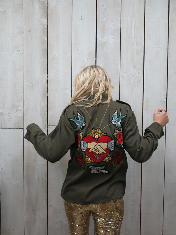 Sacred Heart Embroidered Khaki Jacket
