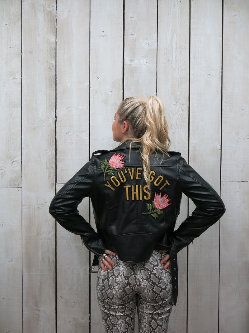 'You've Got This' Embroidered Vegan Leather Jacket