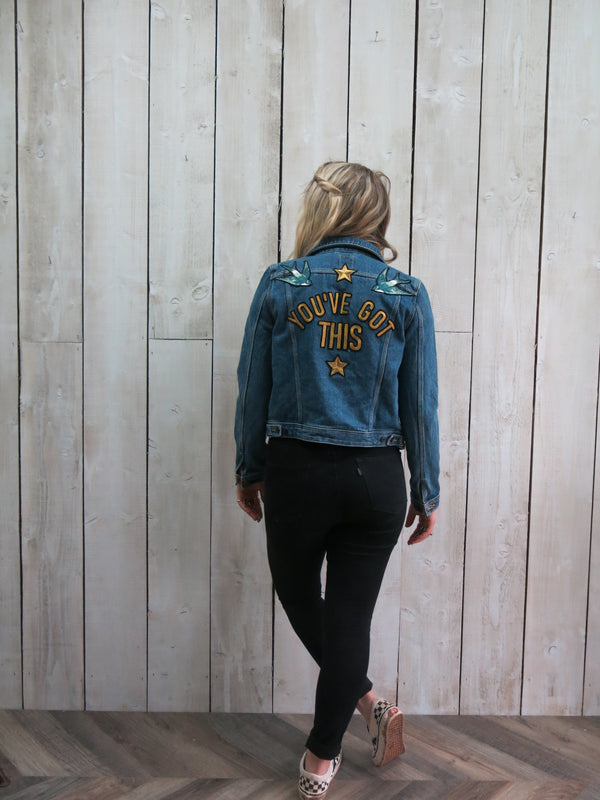 'You've Got This' Embroidered Denim Jacket