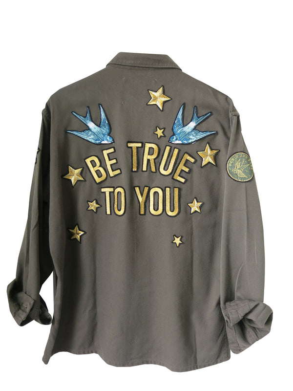 'Be True To You' Embroidered Khaki Jacket